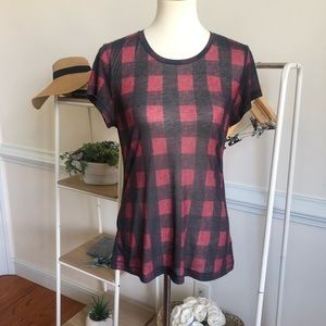 Rag & Bone red and black plaid tee